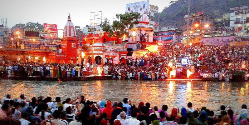 Ganges Aarti in progress in Haridwar