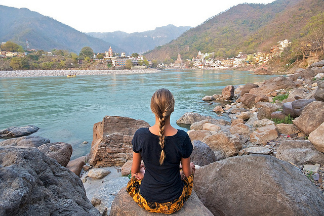 Meditation on the banks of Ganges at Rishikesh
